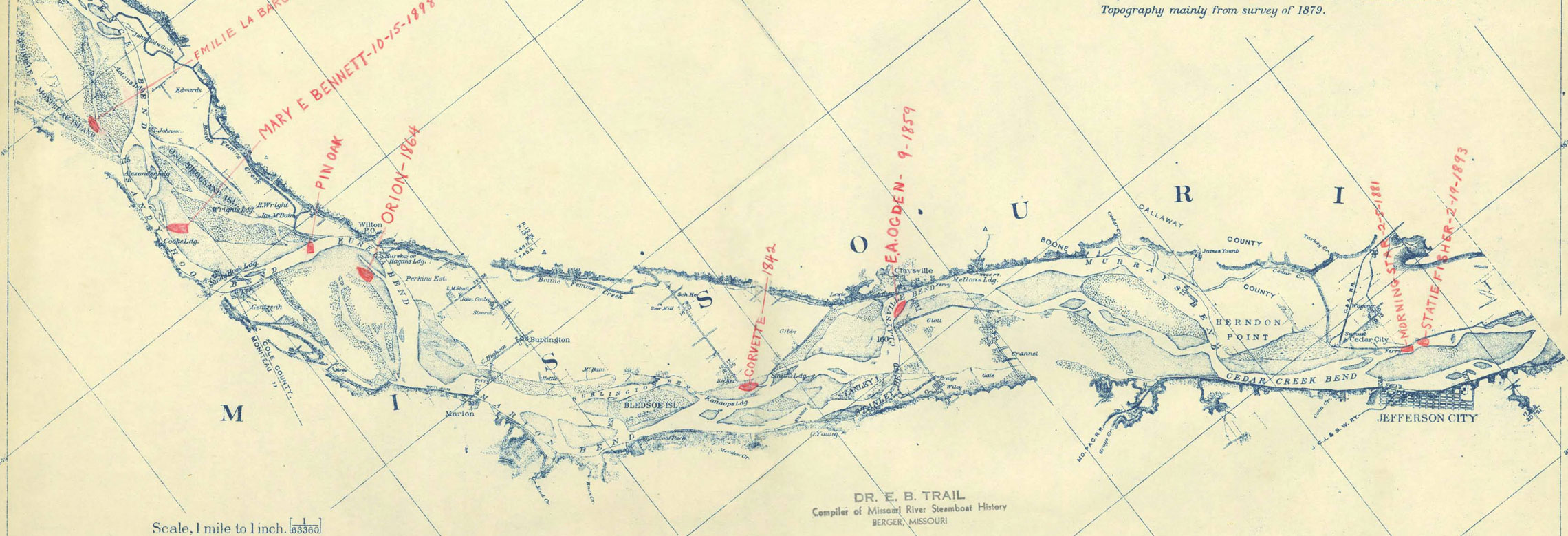 Map depicting Missouri River immediately west of Jefferson City Missouri with notations of riverboat wreck locations.