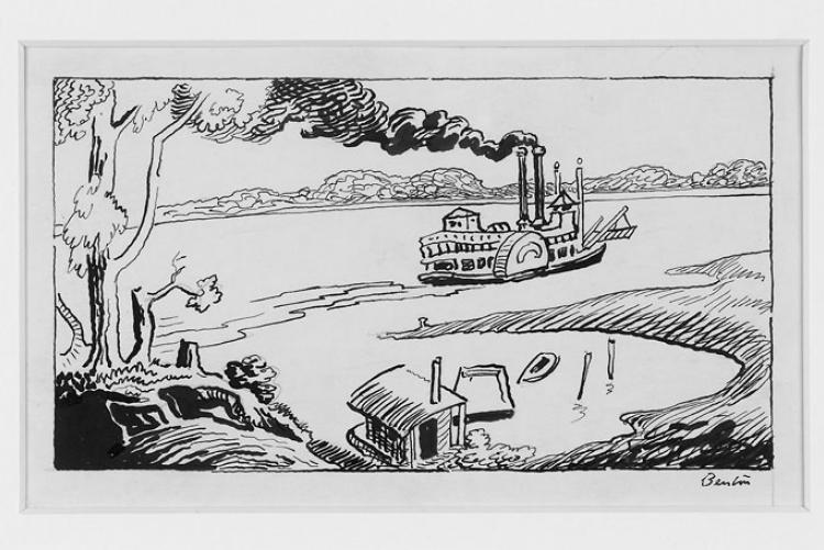 Benton line drawing of a steamboat on a river