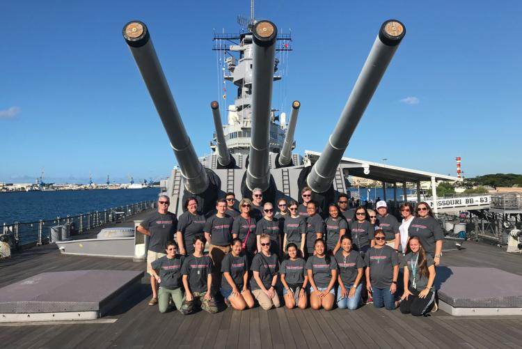 Students and teachers on board the USS Missouri as part of the World War II in the Pacific Student & Teacher Institute.