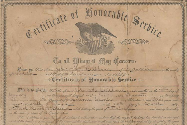 Certificate of Honorable Service for John M. Calhoun, 1883,