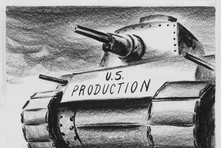 "Fitzpatrick cartoon ""Coming over the horizon,"" with a large tank printed with the phrase ""US Production"""