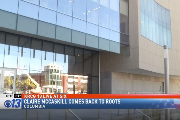 "KRCG still of Center for Missouri Studies exterior with chryon reading ""Clare McCaskill comes back to roots"""