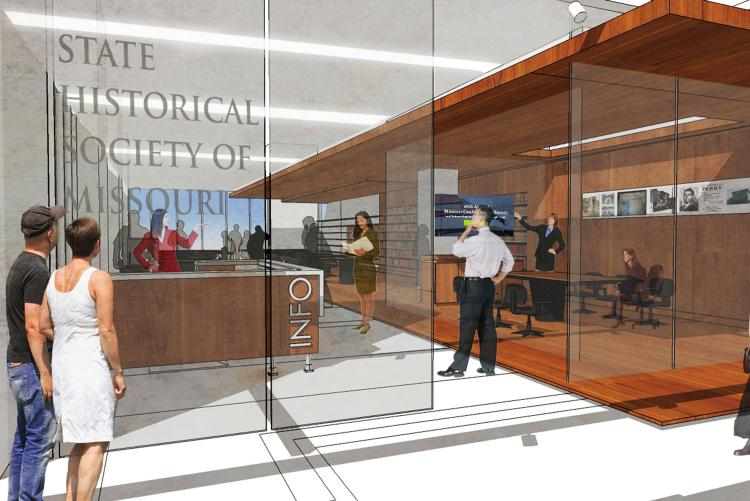 Architectural rendering of the proposed entry area.