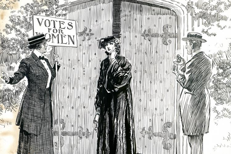 Cartoon of a woman in graduation robes seeming choosing between the woman's suffrage movement and getting married