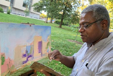 Byron Smith painting in Peace Park.
