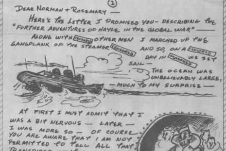 WWII letter with drawings