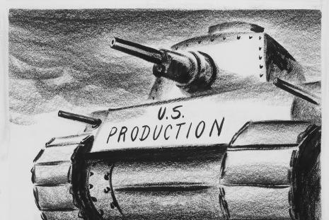 "Fitzpatrick cartoon of a tank that says ""US Production"""