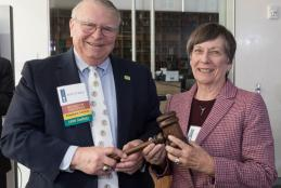 Bob Priddy passes gavel to Virginia Laas